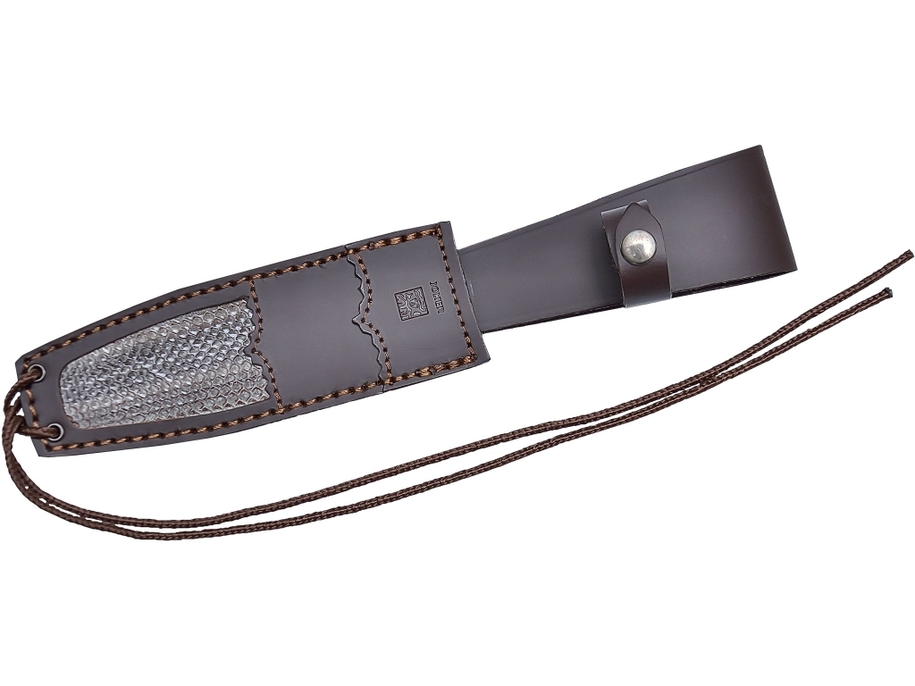 BUFFALO HORN BOWIE KNIFE 16 CM STAINLESS STEEL BLADE LENGTH. LEATHER SHEATH COMBINED WITH REAL SNAKE'S SKIN