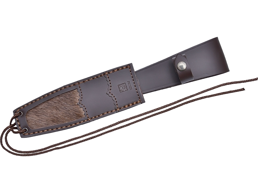 BUFFALO HORN JOKER BOWIE HUNTING KNIFE 16 CM STAINLESS STEEL BLADE LENGTH. LEATHER SHEATH COMBINED WITH REAL DEER'S SKIN