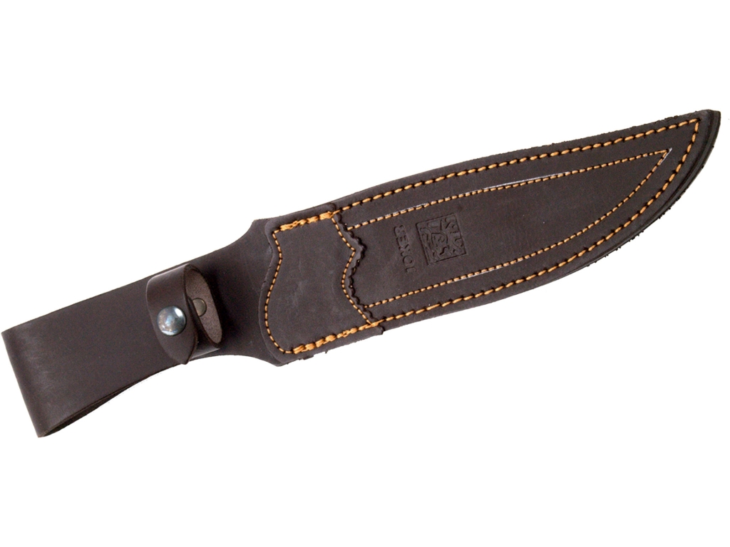 OLIVE WOOD SCALES, 19,5 CM STAINLESS STEEL FULL TANG BLADE JOKER ANTÍLOPE HUNTING KNIFE. LEATHER SHEATH.