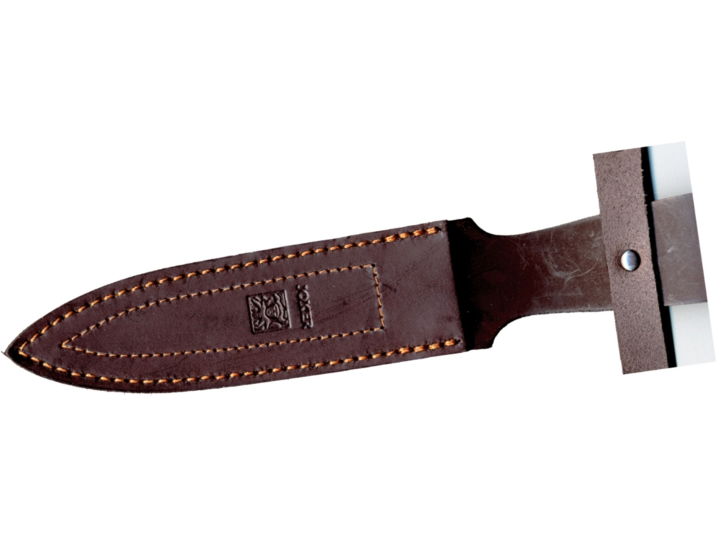 RED WOOD SCALES 15,5 CM FIXED BLADE DOUBLE EDGE HUNTING KNIFE.