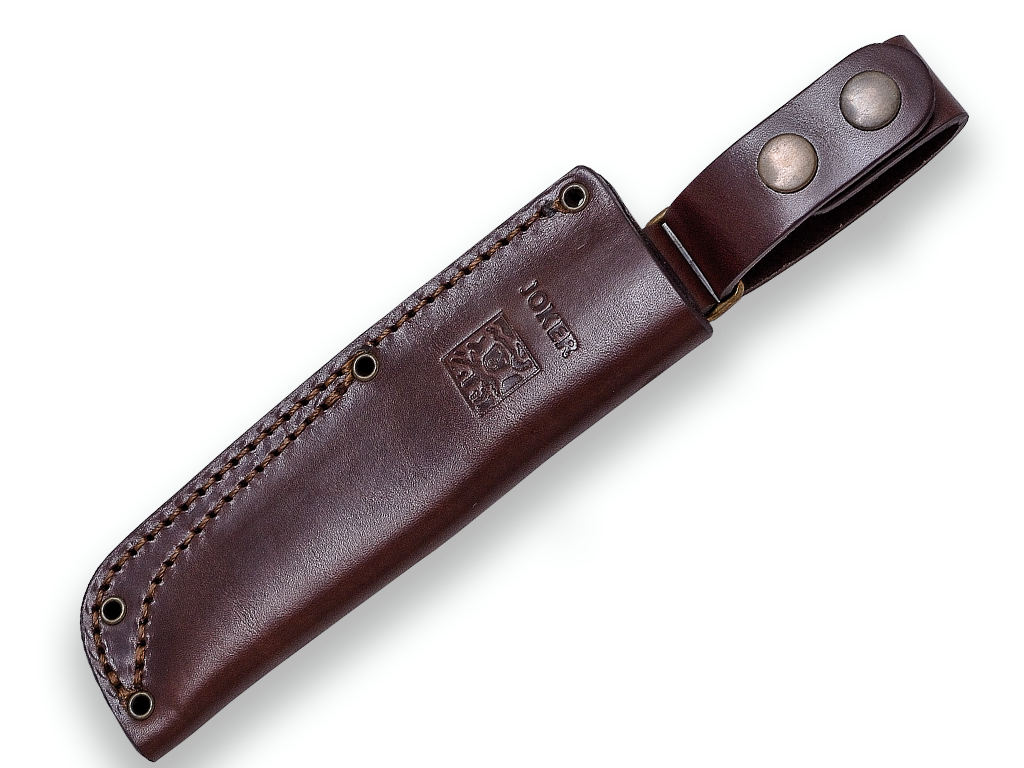 SURVIVAL AND BUSHCRAFT KNIFE JOKER BS9 TRAMPERO. STAINLESS STEEL SANDVIK 14C28N, WALNUT WOOD HANDLE, BLADE LENGTH 10 CM. LEATHER SHEATH INCLUDED.