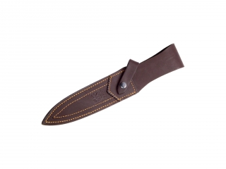 STAG HORN 18 CM FIXED BLADE FINISH OFF KNIFE WITH LEATHER SHEATH.