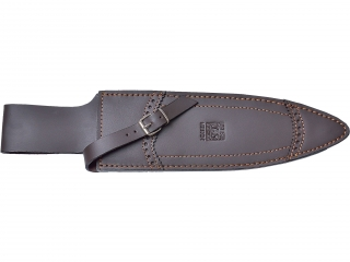 STAG HORN 26 CM FIXED BLADE DOUBLE EDGE FINISH OFF KNIFE WITH LEATHER SHEATH.