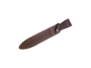 OLIVE WOOD 25,5 CM FIXED BLADE FINISH OFF KNIFE WITH LEATHER SHEATH.