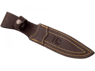 HUNTING KNIFE WITH RED WOOD HANDLE STAINLESS BOLSTER AND BLADE LENGTH 19,5 CM