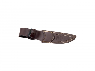 HUNTING KNIFE WITH RED WOOD HANDLE STAINLESS BOLSTER AND BLADE LENGTH 12 CM