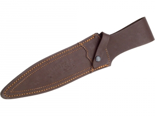 RED WOOD 23,5 CM FIXED BLADE DOUBLE EDGE FINISH OFF KNIFE WITH LEATHER SHEATH.