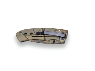 CAMOUFLAGE FOLDING KNIFE JKR, LINER LOCK, BLADE LENGTH 8.5 CM, ALUMINIUM HANDLE. BELT CLIP.