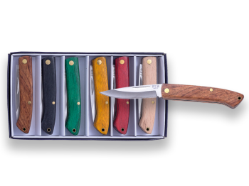 KIT OF 6 PIECE POCKETKNIVES,  6 CM BLADE LENGTH AND VARIOUS COLORS WOOD SCALES.